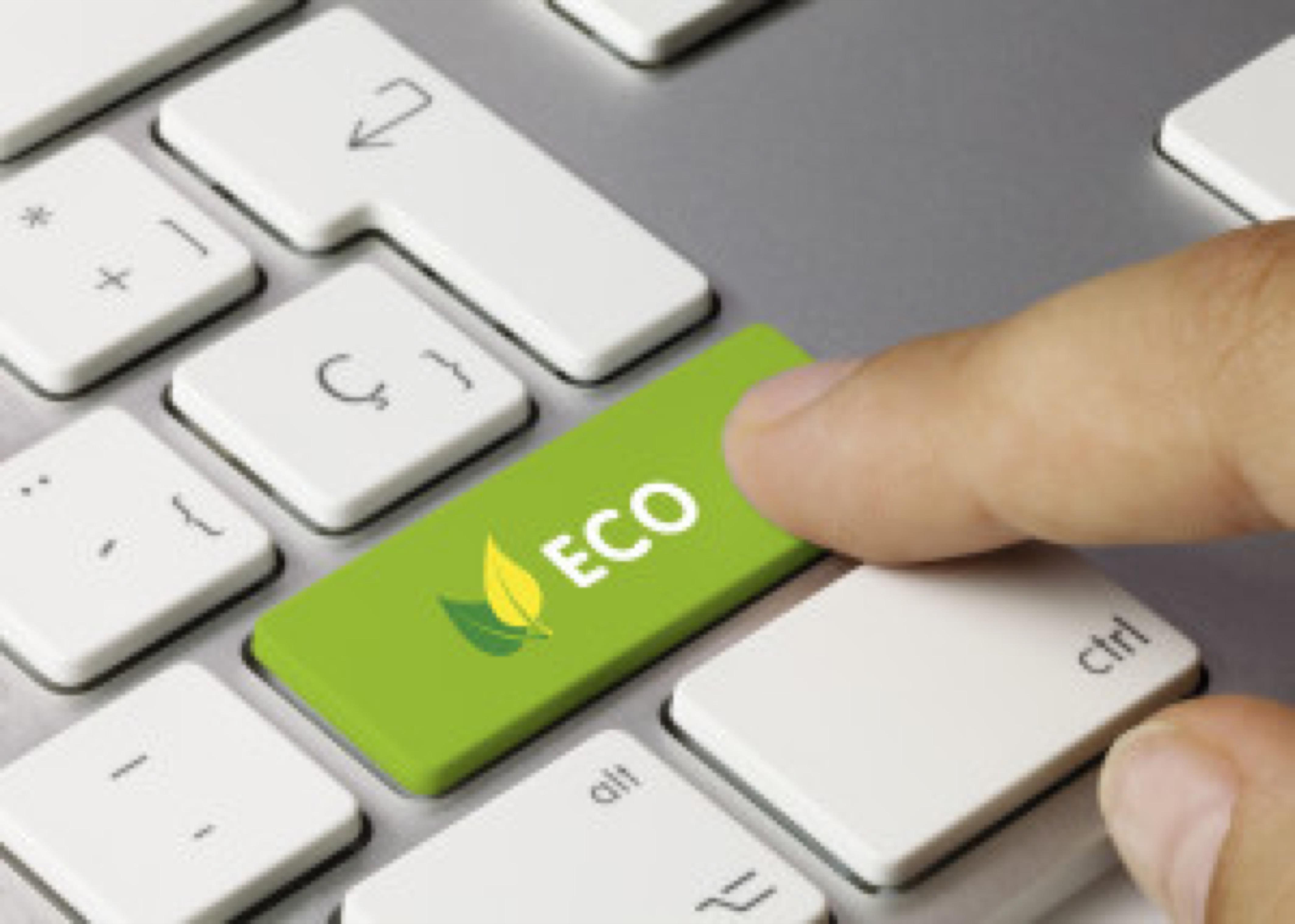 Eco keyboard key. Finger