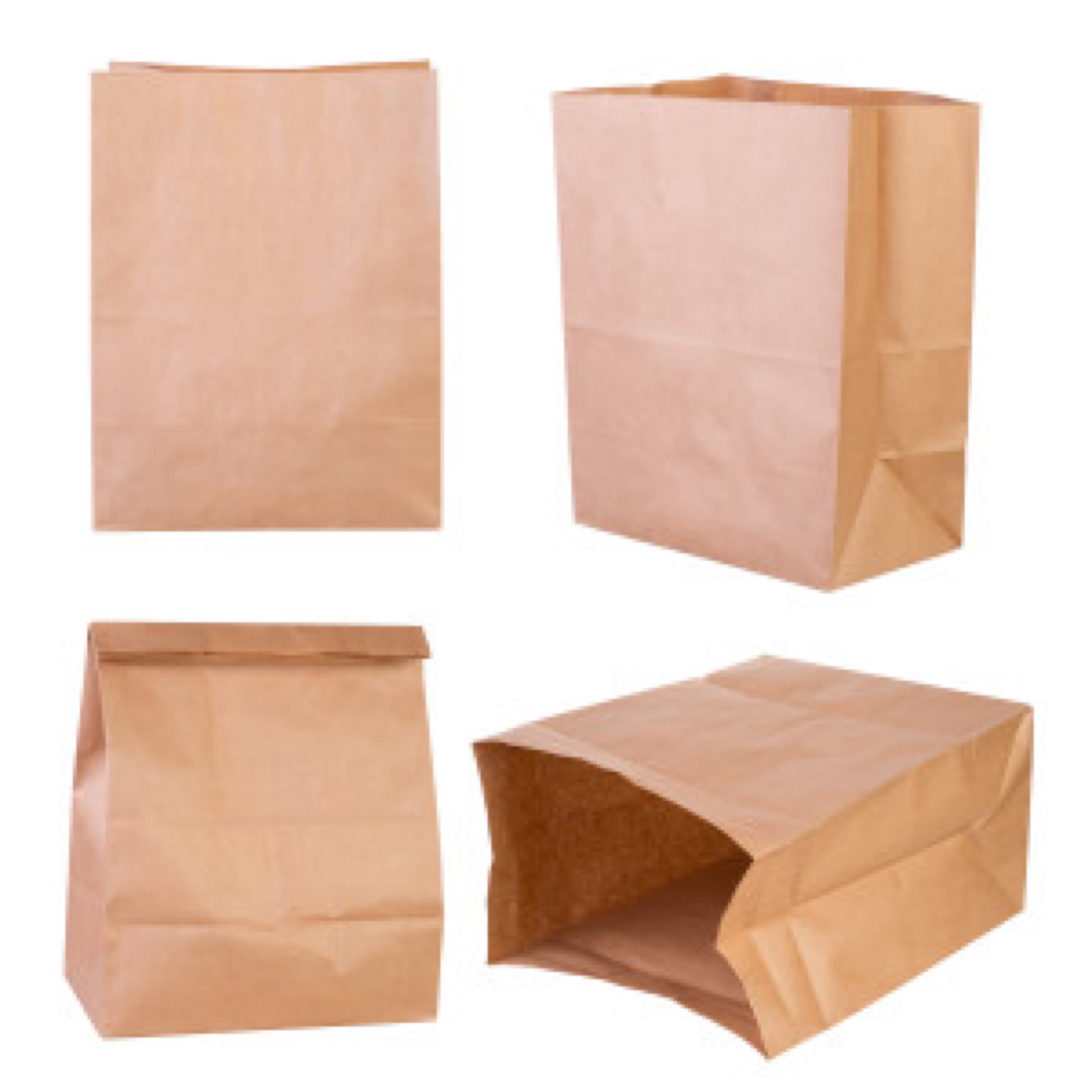 Brown paper bags isolated on white background