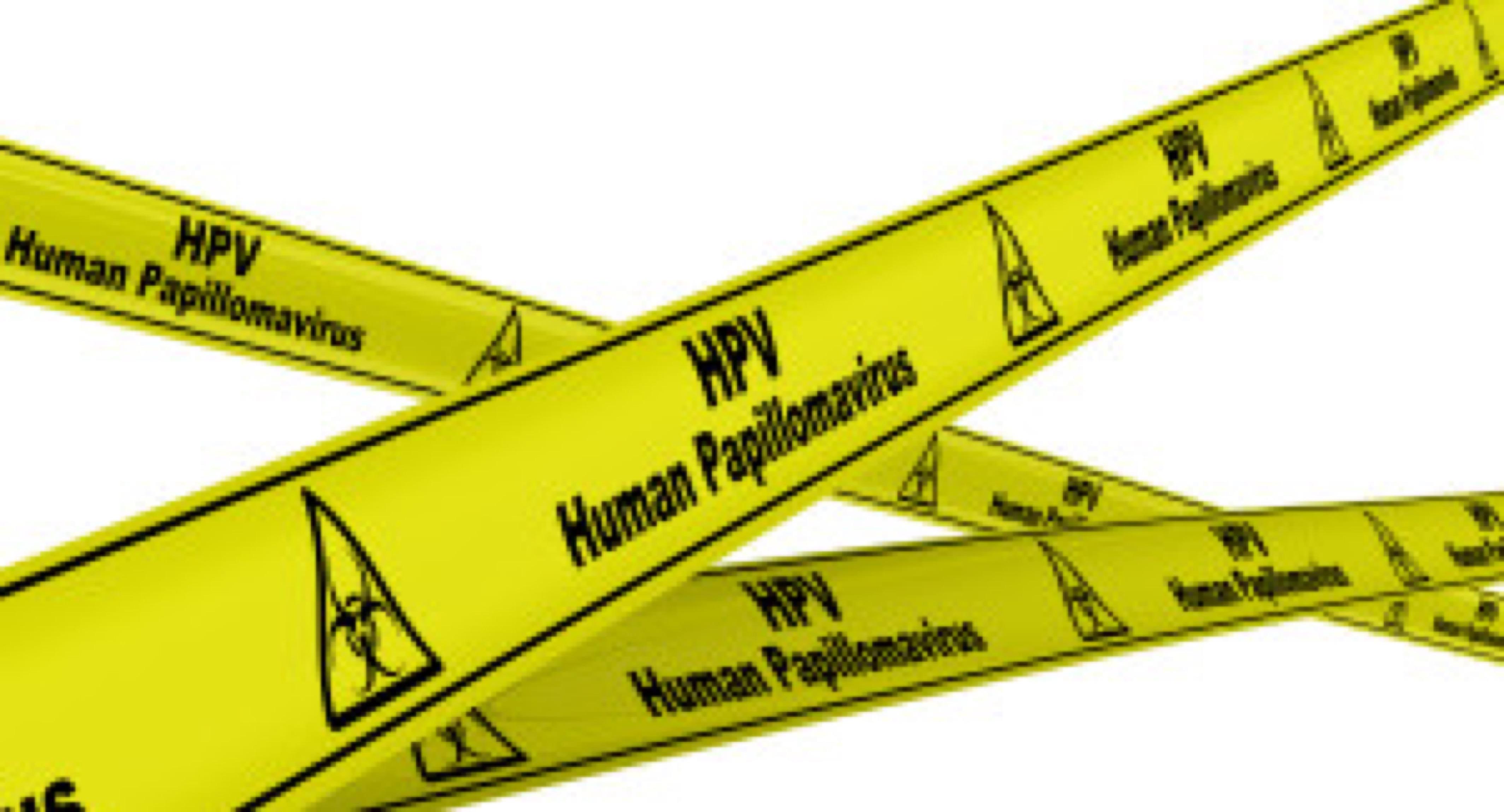 Human Papillomavirus. Yellow warning tapes