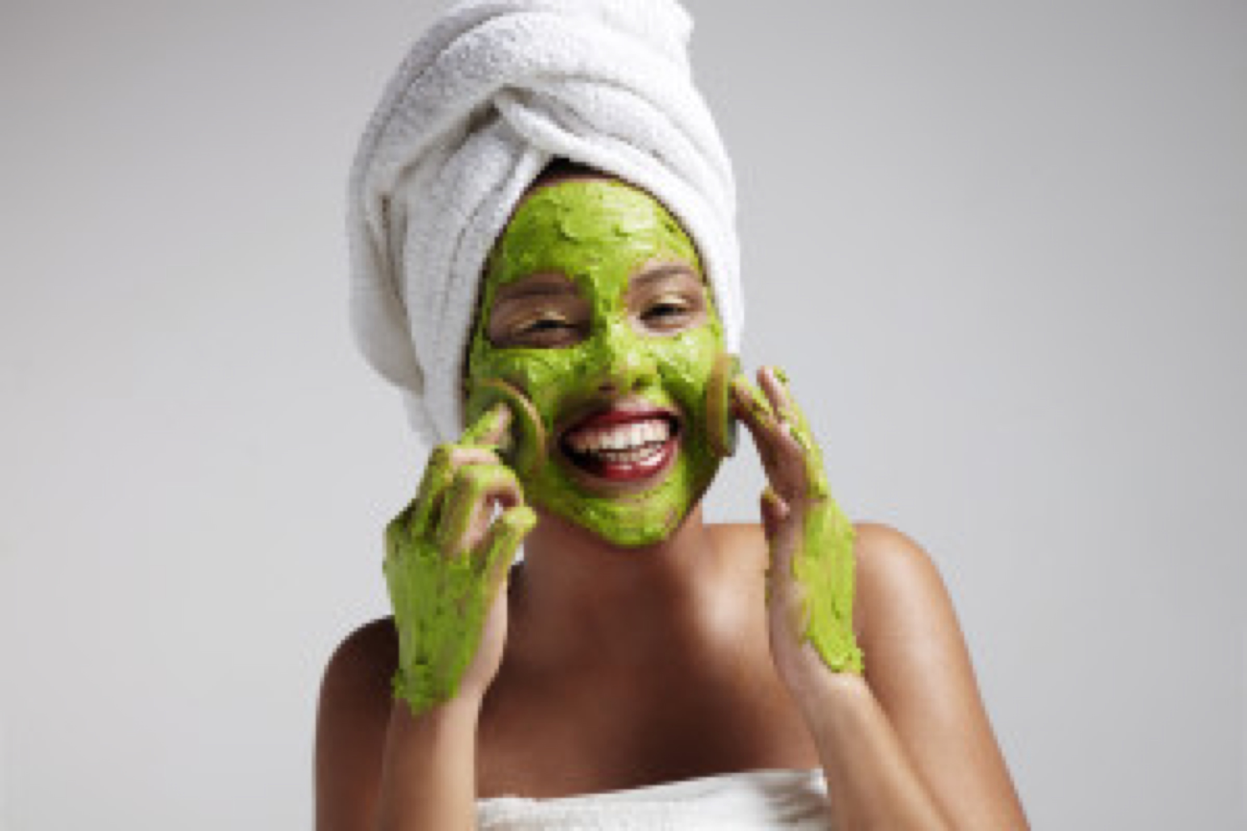 woman have fun with a face mask