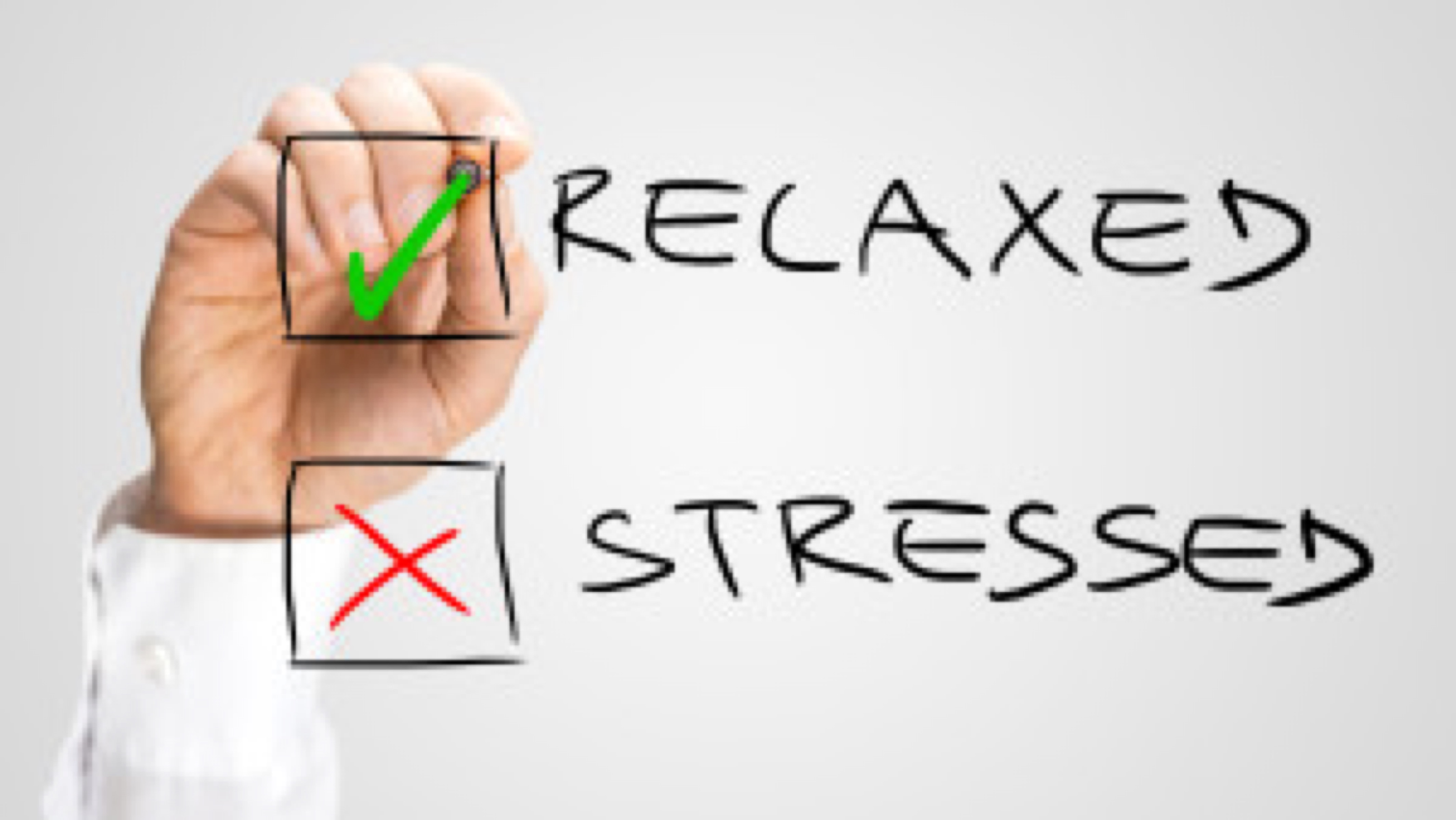 Check Box with Relaxed and Stressed Choices. One Hand Checking Relaxed Option. Isolated on Gray Background.