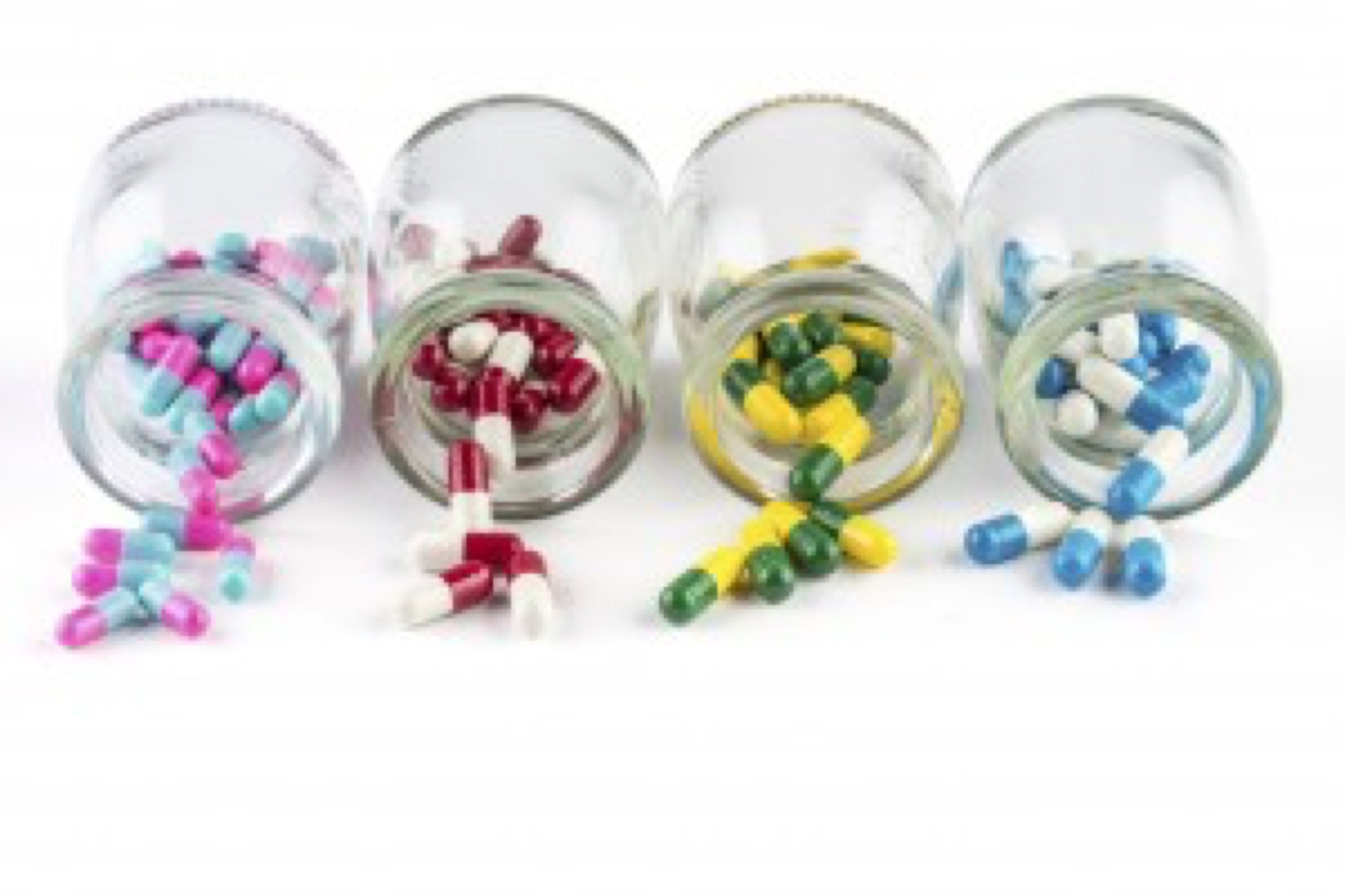 colorful capsule in Transparent bottle, Healthcare And Medicine healthcare medicament