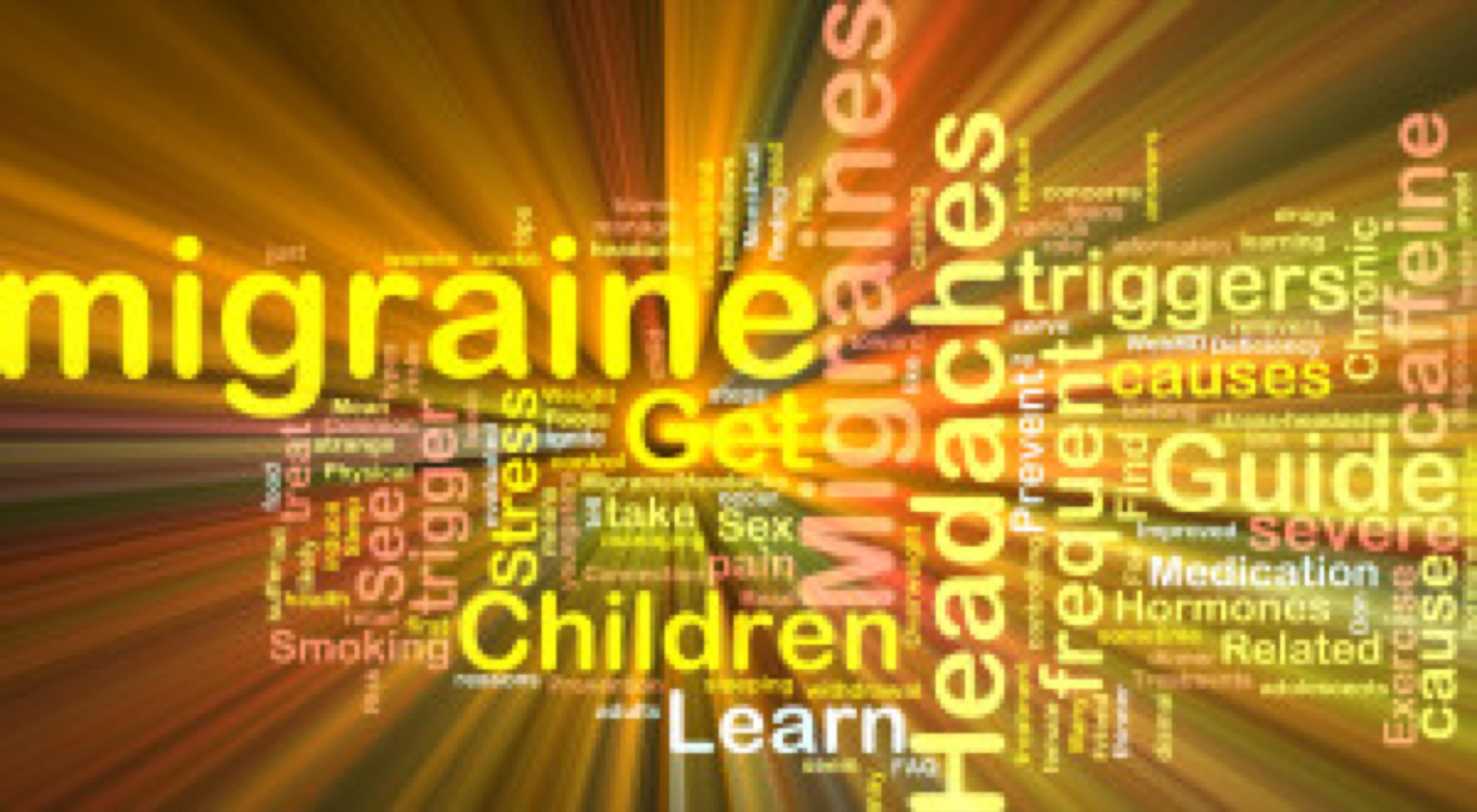 Migraine word cloud glowing