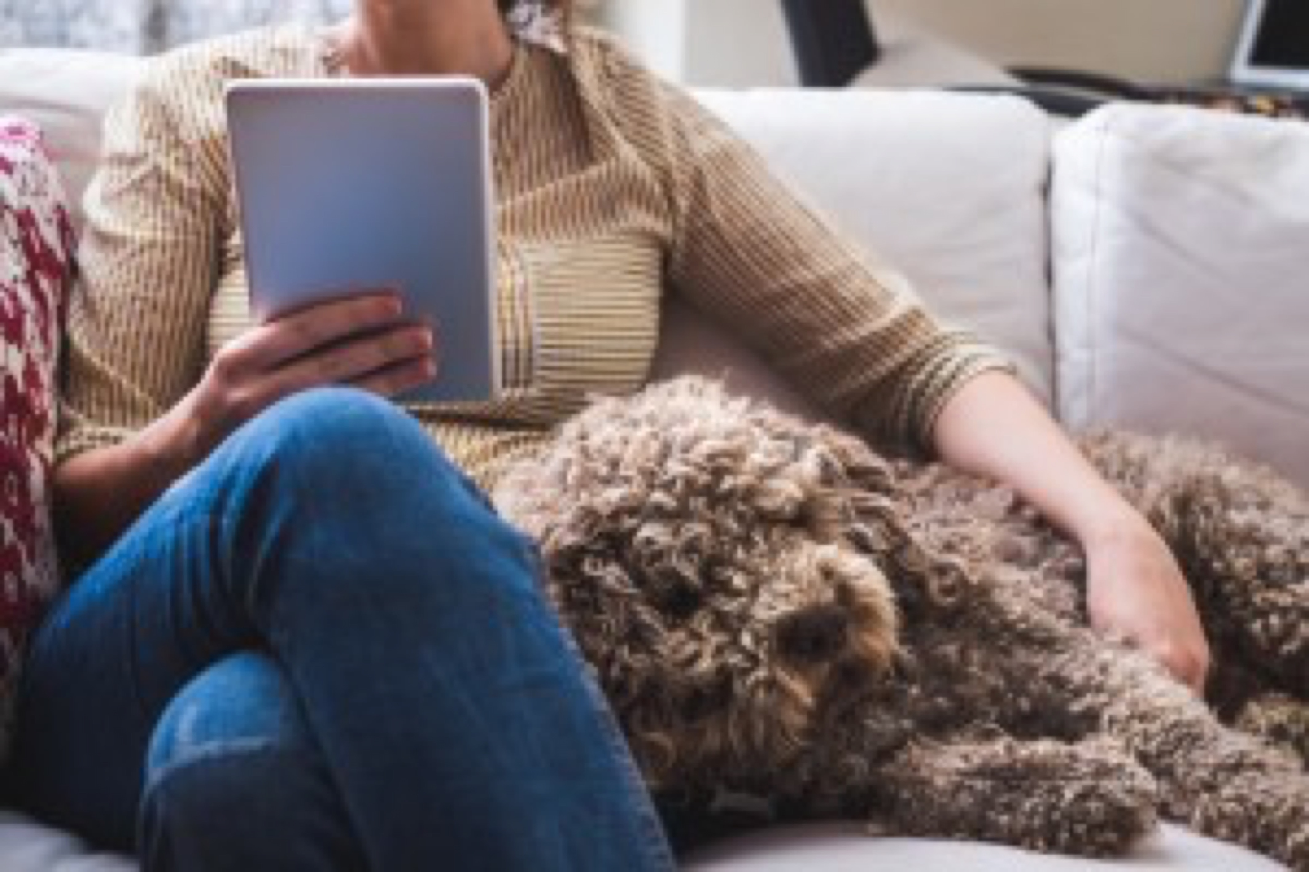 Young woman at home with a tablet and a dog
