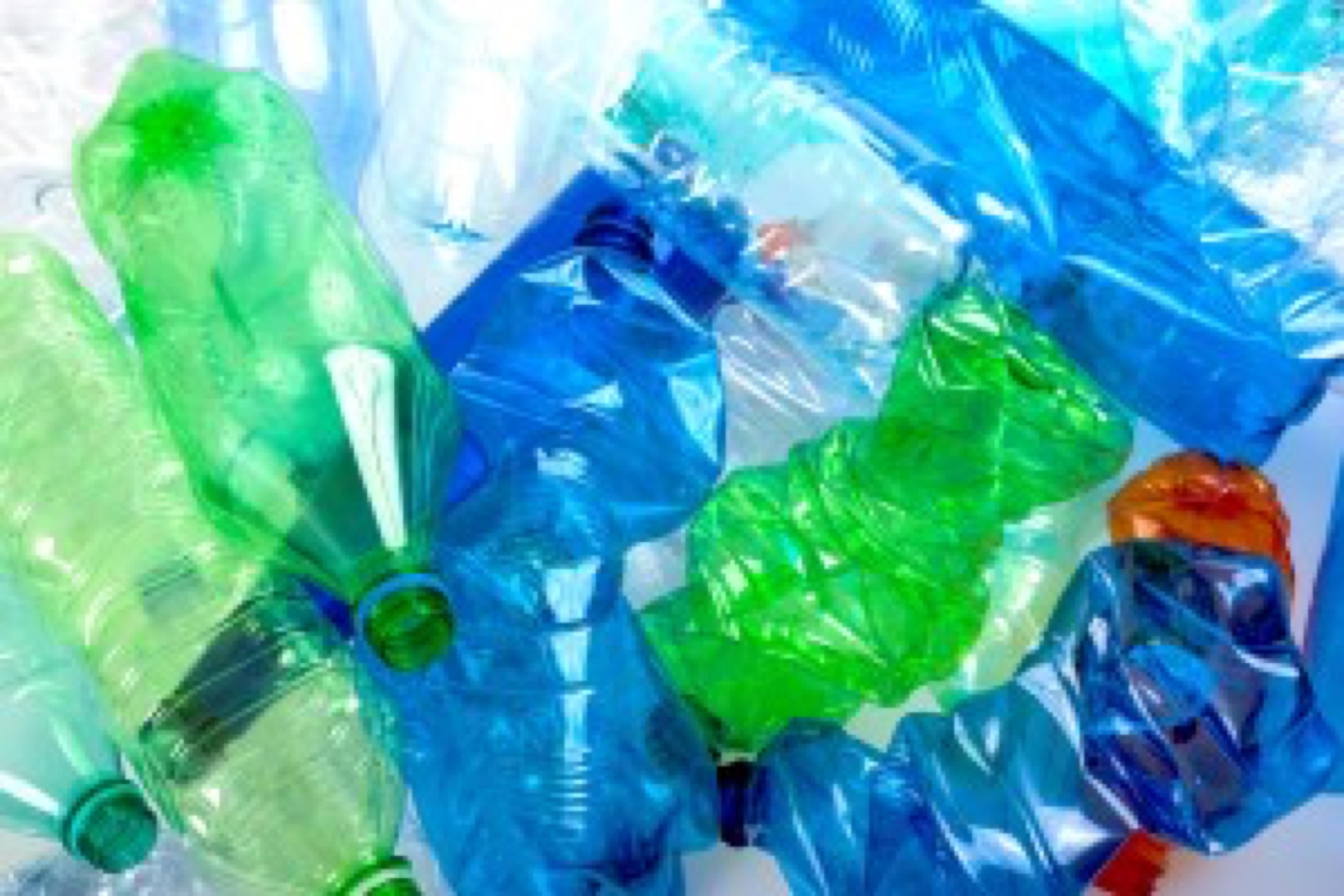 crushed multicolored plastic bottles background
